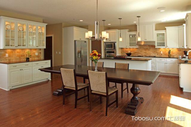 厨房黄色餐桌美式风格装潢图片
