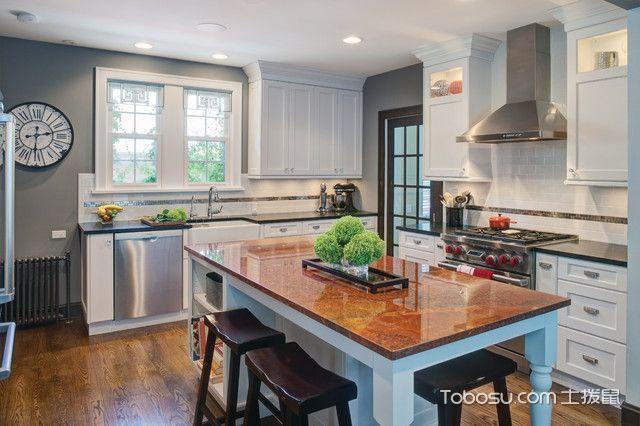 厨房白色餐桌美式风格装饰设计图片