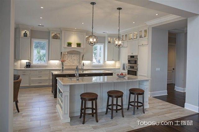 厨房白色吧台简欧风格装潢效果图