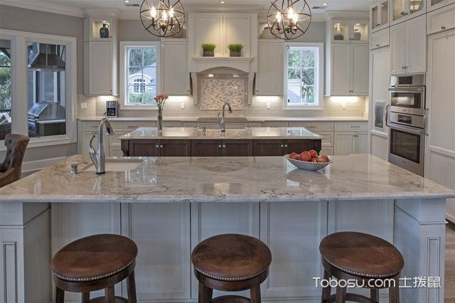 厨房白色吧台简欧风格装饰图片