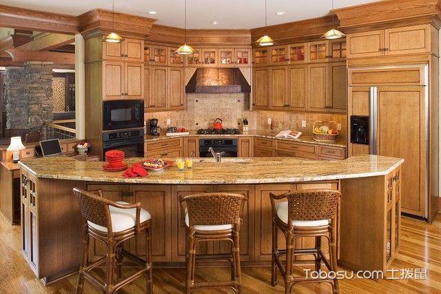 厨房黄色吧台简欧风格装饰设计图片