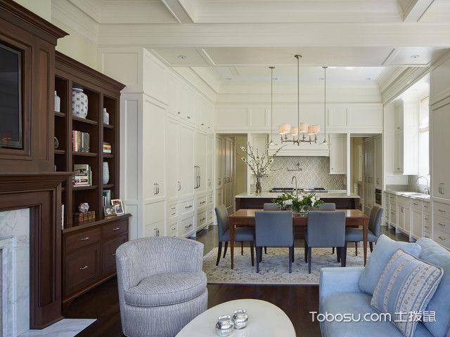 厨房白色餐桌美式风格装修图片
