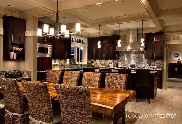 厨房黄色餐桌美式风格装饰设计图片