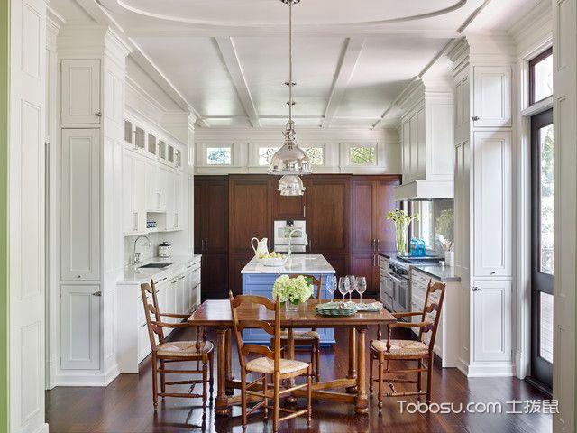 厨房白色餐桌美式风格装饰效果图