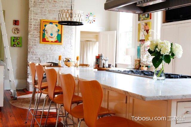 厨房橙色吧台混搭风格装潢图片