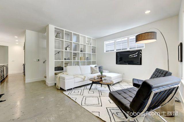 客厅白色隔断现代风格装潢图片