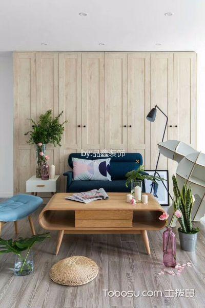 客厅咖啡色地板砖北欧风格装潢图片