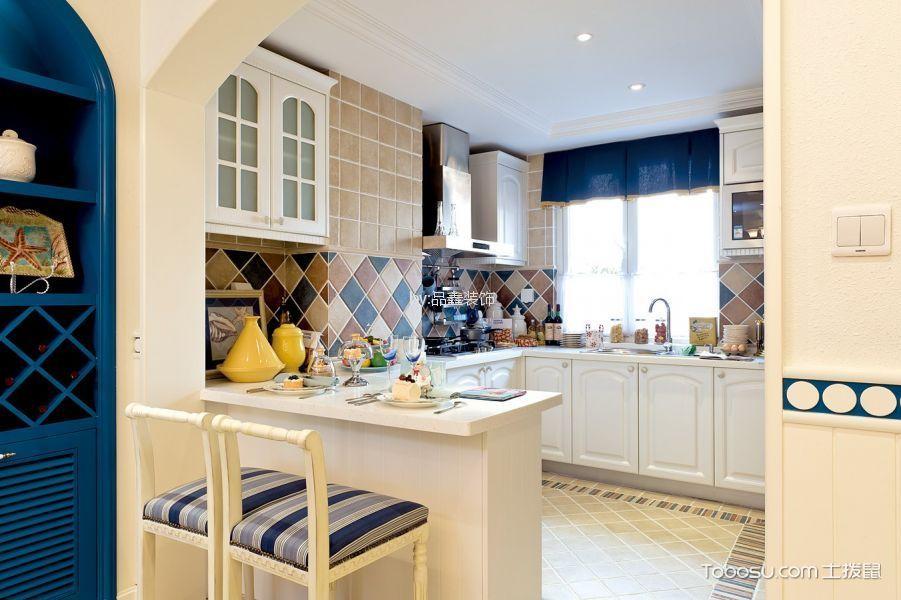 厨房 吧台_富阳云水山居220方地中海风格复式装修效果图