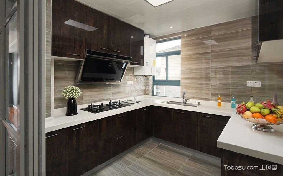 厨房 橱柜_新锦安雅园现代简约三居室装修效果图
