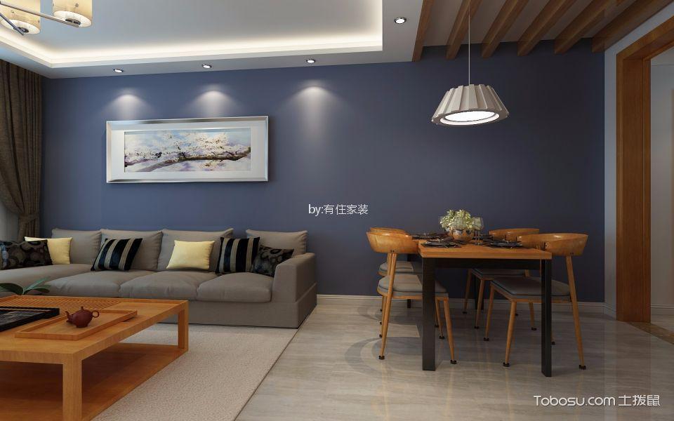 恒生伴山110平简约风格三居室装修效果图