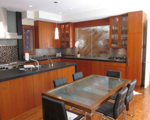 厨房黄色厨房岛台现代风格装潢图片