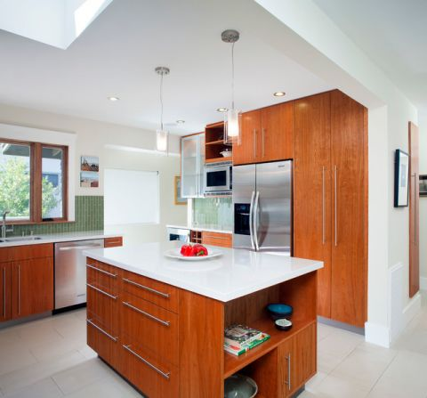 厨房黄色餐桌现代风格装修效果图