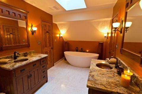 浴室黄色背景墙现代风格装饰效果图