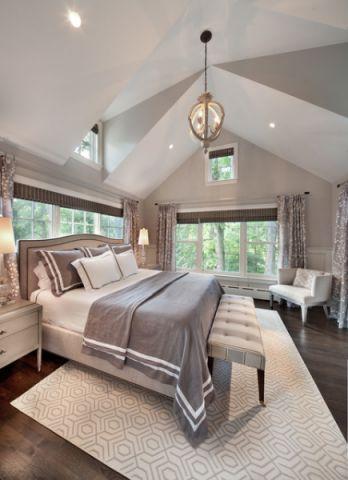 卧室白色吊顶美式风格装饰效果图
