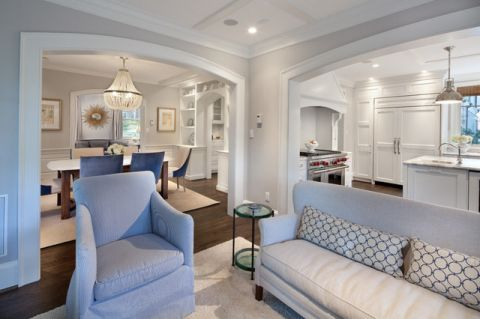 客厅白色隐形门美式风格装饰图片