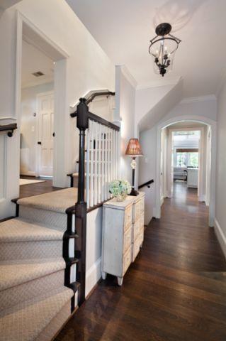 客厅白色楼梯美式风格装修设计图片