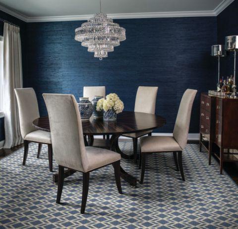 餐厅蓝色背景墙美式风格装修效果图