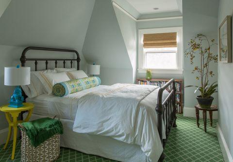 卧室米色背景墙美式风格装饰图片