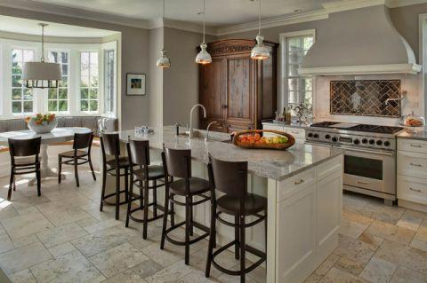 厨房米色餐桌美式风格装潢设计图片