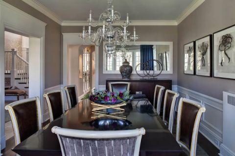 餐厅黑色餐桌美式风格装潢效果图