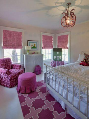 儿童房粉色窗帘美式风格装修图片