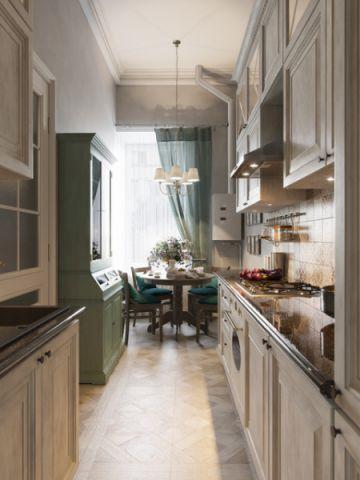 厨房咖啡色橱柜美式风格装修效果图