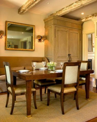 餐厅黄色餐桌简欧风格装饰图片