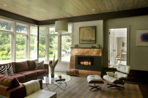 客厅绿色沙发简欧风格装潢图片