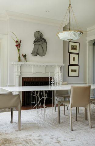 餐厅白色餐桌简欧风格装修效果图