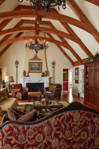 客厅黄色沙发简欧风格装潢效果图