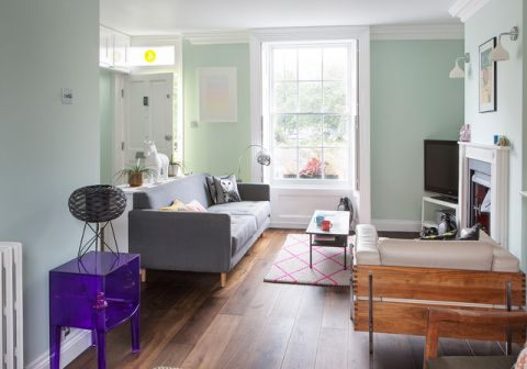 客厅绿色沙发简欧风格装潢效果图