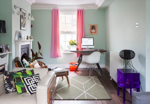 客厅绿色沙发简欧风格装饰图片