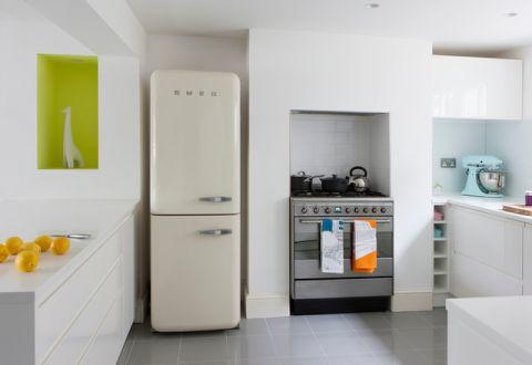 厨房白色橱柜简欧风格装修设计图片