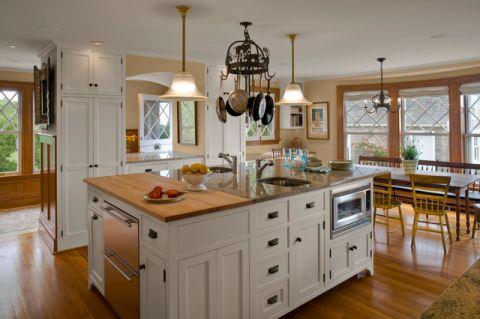 厨房黄色橱柜简欧风格装修图片