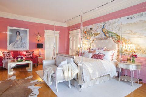 卧室粉色床简欧风格效果图