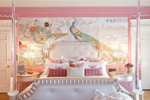 卧室粉色背景墙简欧风格装修效果图