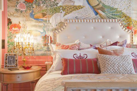 卧室粉色床头柜简欧风格装饰效果图