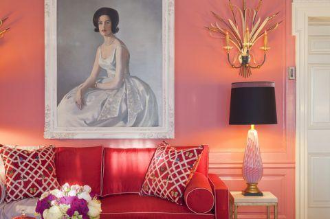 卧室粉色背景墙简欧风格装潢效果图