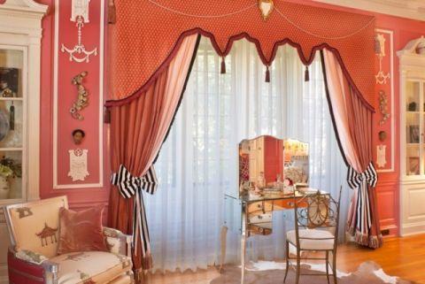 卧室红色飘窗简欧风格装修图片