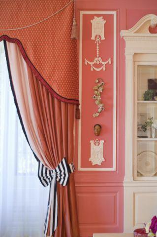 卧室红色飘窗简欧风格装饰图片