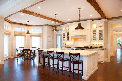 厨房白色吧台简欧风格装饰效果图