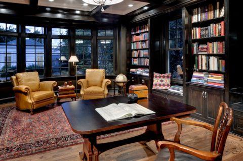 书房黑色沙发简欧风格装饰图片