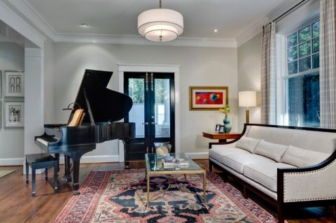 客厅白色沙发简欧风格装潢图片