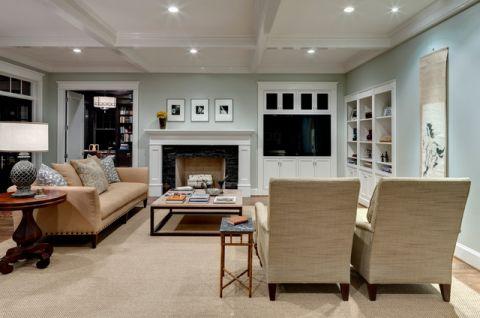 客厅白色沙发简欧风格装饰设计图片