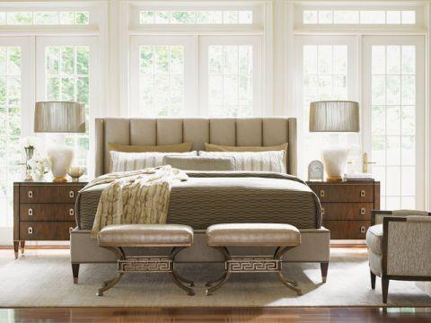 卧室白色床头柜简欧风格装修设计图片