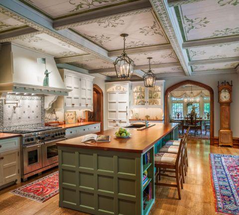 厨房黄色餐桌简欧风格装饰效果图