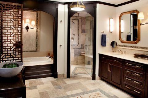 卫生间红色浴缸简欧风格装潢效果图