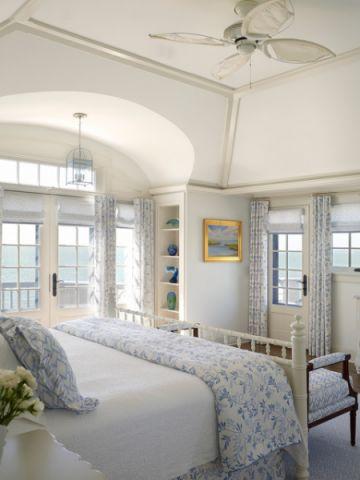卧室白色床头柜简欧风格装饰设计图片