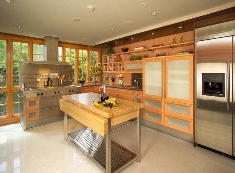 厨房黄色餐桌简欧风格装饰设计图片