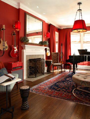 客厅红色沙发混搭风格装潢效果图